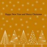 Νέο έτος και κάρτα Χριστουγέννων στο ύφος zenart, άσπρα σχέδια σε ένα χρωματισμένο υπόβαθρο, snowflakes και χριστουγεννιάτικα δέν διανυσματική απεικόνιση