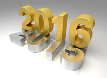 Νέο έτος 2016 και παλαιό 2015 Στοκ εικόνα με δικαίωμα ελεύθερης χρήσης