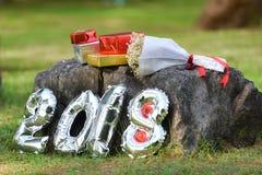 Νέο έτος 2018 κιβωτίων δώρων Στοκ Φωτογραφίες