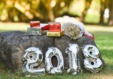 Νέο έτος 2018 κιβωτίων δώρων Στοκ Εικόνα