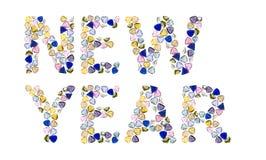 νέο έτος λέξεων πολύτιμων λίθων Στοκ Εικόνα