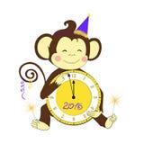 νέο έτος Λίγο ρολόι και sparklers εκμετάλλευσης πιθήκων Στοκ εικόνες με δικαίωμα ελεύθερης χρήσης