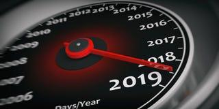 2019 νέο έτος Λεπτομέρεια κινηματογραφήσεων σε πρώτο πλάνο μετρητών ταχυμέτρων αυτοκινήτων τρισδιάστατη απεικόνιση απεικόνιση αποθεμάτων