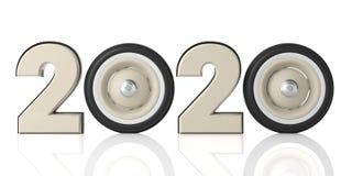 Νέο έτος 2020 με την εκλεκτής ποιότητας αναδρομική ρόδα αυτοκινήτων που απομονώνεται στο άσπρο υπόβαθρο τρισδιάστατη απεικόνιση διανυσματική απεικόνιση