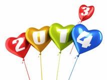 Νέο έτος 2014 μπαλονιών καρδιών Στοκ Εικόνες