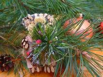 νέο έτος οικολογικός ξύλινος διακοσμήσεων Χριστουγέννων Τρύγος _ Στοκ Φωτογραφία