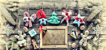 νέο έτος Παιχνίδια Χριστουγέννων σπιτικά και διακόσμηση, Στοκ φωτογραφίες με δικαίωμα ελεύθερης χρήσης
