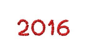 Νέο έτος 2016 που γίνεται από τις καρδιές Στοκ εικόνα με δικαίωμα ελεύθερης χρήσης