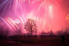 Νέο έτος 2018, πυροτεχνήματα στην Πράγα, Δημοκρατία της Τσεχίας στοκ φωτογραφία με δικαίωμα ελεύθερης χρήσης
