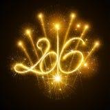 Νέο έτος 2016 πυροτεχνήματα διανυσματική απεικόνιση