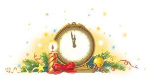 νέο έτος ρολογιών Στοκ Φωτογραφίες