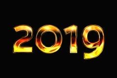 Νέο έτος 2019 σε ένα μαύρο υπόβαθρο τρισδιάστατη απόδοση απεικόνιση αποθεμάτων