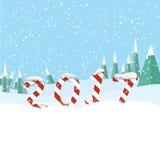 Νέο έτος 2017 στη μορφή του ραβδιού καραμελών στο χιόνι Στοκ Εικόνες