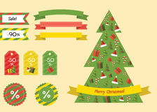 νέο έτος στοιχείων ευτυχές λευκό αγορών πώλησης κοριτσιών Χριστουγέννων ανασκόπησης Πακέτο ντεκόρ Απεικόνιση αποθεμάτων