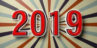 Νέο έτος 2019 στο εκλεκτής ποιότητας υπόβαθρο τοίχων τσίρκων τρισδιάστατη απεικόνιση ελεύθερη απεικόνιση δικαιώματος