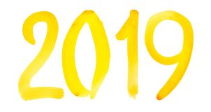 Νέο έτος 2019 - συρμένος χέρι κίτρινος αριθμός watercolor διανυσματική απεικόνιση