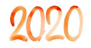 Νέο έτος 2020 - συρμένος χέρι πορτοκαλής αριθμός watercolor ελεύθερη απεικόνιση δικαιώματος