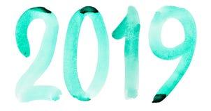 Νέο έτος 2019 - συρμένος χέρι πράσινος αριθμός watercolor απεικόνιση αποθεμάτων