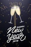 νέο έτος σχεδίου Σχεδιάγραμμα με το γυαλί σαμπάνιας επάνω από τα μεσάνυχτα στο ρολόι, το κομφετί και το νέο έτος 2019 που γράφουν απεικόνιση αποθεμάτων
