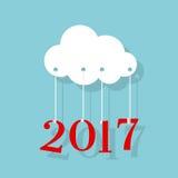 2017 νέο έτος Σύννεφο εγγράφου διανυσματική απεικόνιση