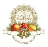 Νέο έτος 2018 τα Χριστούγεννα διακοσμούν τις φρέσκες βασικές ιδέες διακοσμήσεων Στοκ Εικόνα