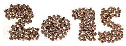 Νέο έτος του 2015 από τα φασόλια καφέ Στοκ Εικόνα
