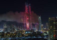 Νέο έτος 2016 του Ντουμπάι Burj Khalifa πυροτεχνήματα Στοκ Εικόνες