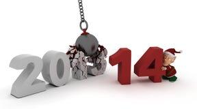 νέο έτος του 2014 που καταστρέφει τη σφαίρα Στοκ φωτογραφία με δικαίωμα ελεύθερης χρήσης