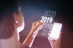 Νέο έτος του 2019 στην υψηλή τεχνολογία στοκ εικόνες