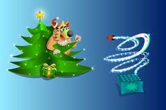 Νέο έτος, το σκυλί προσέχει τα πυροτεχνήματα από κάτω από το χριστουγεννιάτικο δέντρο, στο μπλε υπόβαθρο, απεικόνιση και vektr Στοκ φωτογραφία με δικαίωμα ελεύθερης χρήσης