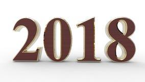 Νέο έτος 2018 τρισδιάστατο Στοκ Φωτογραφία