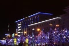 νέο έτος φωτισμού Χριστου Στοκ Φωτογραφία