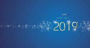 Νέο έτος 2019 χαιρετισμοί που φορτώνουν το χρυσό άσπρο μπλε διάνυσμα χρώματος πυροτεχνημάτων ελεύθερη απεικόνιση δικαιώματος