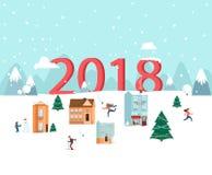 2018 νέο έτος χαιρετισμός καλή χρονιά καρτών του 2007 Τοπίο χειμερινής φύσης Στοκ εικόνες με δικαίωμα ελεύθερης χρήσης