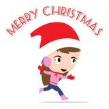 Νέο έτος Χαρούμενα Χριστούγεννας με το χαμογελώντας κορίτσι μέσα, άσπρο υπόβαθρο θέματος χειμερινών διακοπών Στοκ φωτογραφίες με δικαίωμα ελεύθερης χρήσης