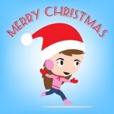 Νέο έτος Χαρούμενα Χριστούγεννας με το χαμογελώντας κορίτσι μέσα, μπλε υπόβαθρο θέματος χειμερινών διακοπών Στοκ εικόνα με δικαίωμα ελεύθερης χρήσης
