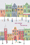 νέο έτος Χριστουγέννων καρτών Χιονώδης πόλη στην παραμονή διακοπών Στοκ Εικόνες