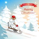 νέο έτος Χριστουγέννων καρτών EPS, JPG Στοκ Εικόνες