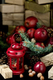 νέο έτος Χριστουγέννων Μήλα με τους κώνους πεύκων και καρύδια bas Στοκ φωτογραφία με δικαίωμα ελεύθερης χρήσης
