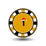 Νέο έτος Χριστουγέννων τσιπ πόκερ EPS 10 εικονιδίων απεικόνιση σε ένα άσπρο υπόβαθρο που χωρίζει εύκολα Χρήση για τους ιστοχώρους Στοκ Εικόνα