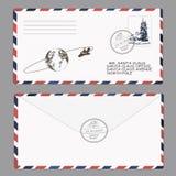 νέο έτος Χριστουγέννων santa επιστολών Claus πρότυπο, φάκελος, γραμματόσημο διάνυσμα Στοκ Φωτογραφία