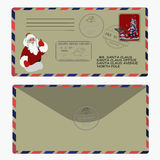 νέο έτος Χριστουγέννων santa επιστολών Claus πρότυπο, φάκελος, γραμματόσημο διάνυσμα Στοκ Εικόνες
