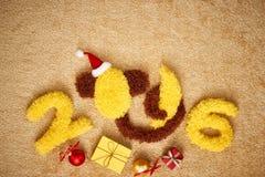 Νέο έτος 2016 Χριστούγεννα αστείος πίθηκος μπανανών Στοκ εικόνα με δικαίωμα ελεύθερης χρήσης