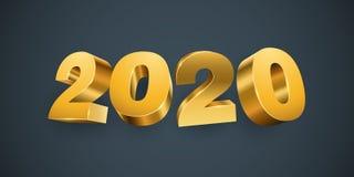 Νέο έτος 2020 χρυσοί αριθμοί απεικόνιση αποθεμάτων