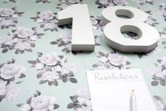 Νέο έτος 2018 ψηφίσματα και μολύβι για τις σημειώσεις Στοκ εικόνα με δικαίωμα ελεύθερης χρήσης