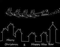Νέο έτος s, κάρτα Χριστουγέννων Αφηρημένη σκιαγραφία των ελαφιών και έλκηθρο Άγιου Βασίλη πέρα από τα σπίτια απεικόνιση Στοκ Εικόνες