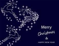 Νέο έτος s, κάρτα Χριστουγέννων Αφηρημένη σκιαγραφία των ελαφιών στον έναστρο ουρανό απεικόνιση Στοκ Φωτογραφίες