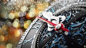 Νέο έτος ` s στα μεσάνυχτα - παλαιό ρολόι με snowflakes αστεριών και τα φω'τα διακοπών διανυσματική απεικόνιση