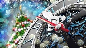 Νέο έτος ` s στα μεσάνυχτα - παλαιό ρολόι με snowflakes αστεριών και τα φω'τα διακοπών ελεύθερη απεικόνιση δικαιώματος