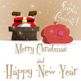 Νέο έτους διάνυσμα ευχετήριων καρτών Άγιου Βασίλη καφετί διανυσματική απεικόνιση